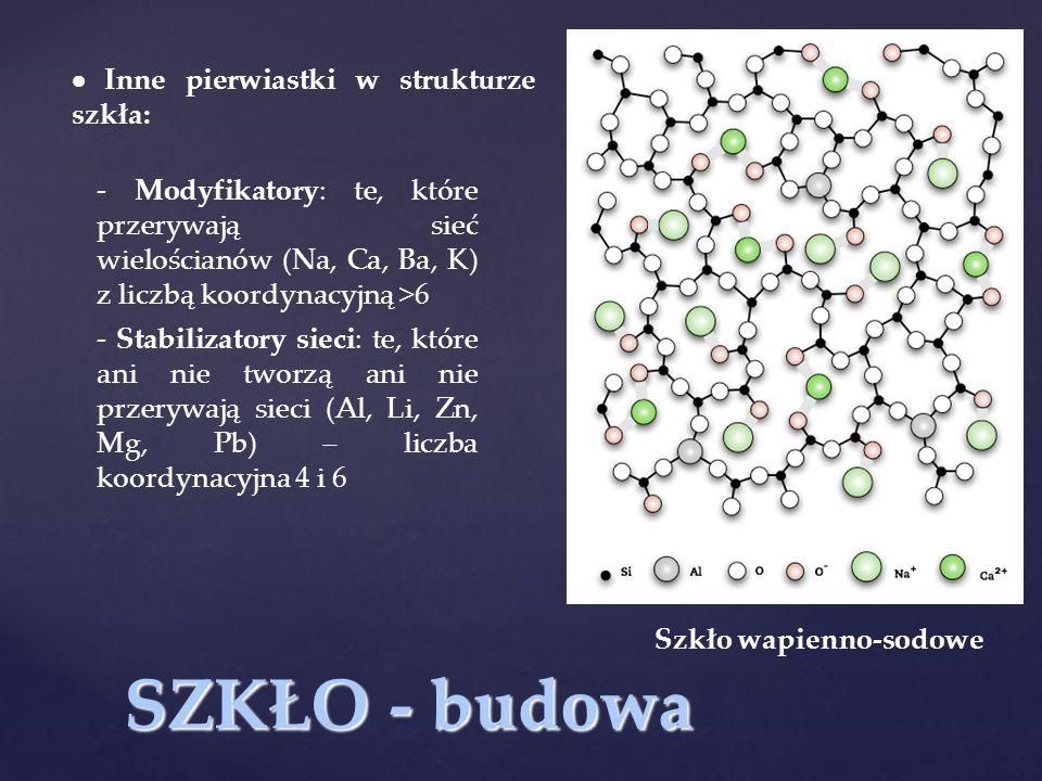 SZKŁO - budowa Szkło wapienno-sodowe  Inne pierwiastki w strukturze szkła: - Stabilizatory sieci: te, które ani nie tworzą ani nie przerywają sieci (Al, Li, Zn, Mg, Pb) – liczba koordynacyjna 4 i 6 - Modyfikatory: te, które przerywają sieć wielościanów (Na, Ca, Ba, K) z liczbą koordynacyjną >6