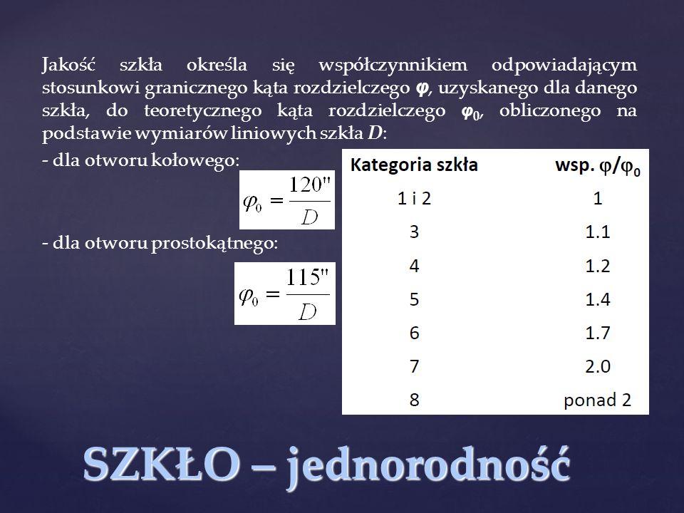 SZKŁO – jednorodność Jakość szkła określa się współczynnikiem odpowiadającym stosunkowi granicznego kąta rozdzielczego φ, uzyskanego dla danego szkła,