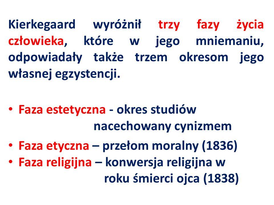 Kierkegaard wyróżnił trzy fazy życia człowieka, które w jego mniemaniu, odpowiadały także trzem okresom jego własnej egzystencji.