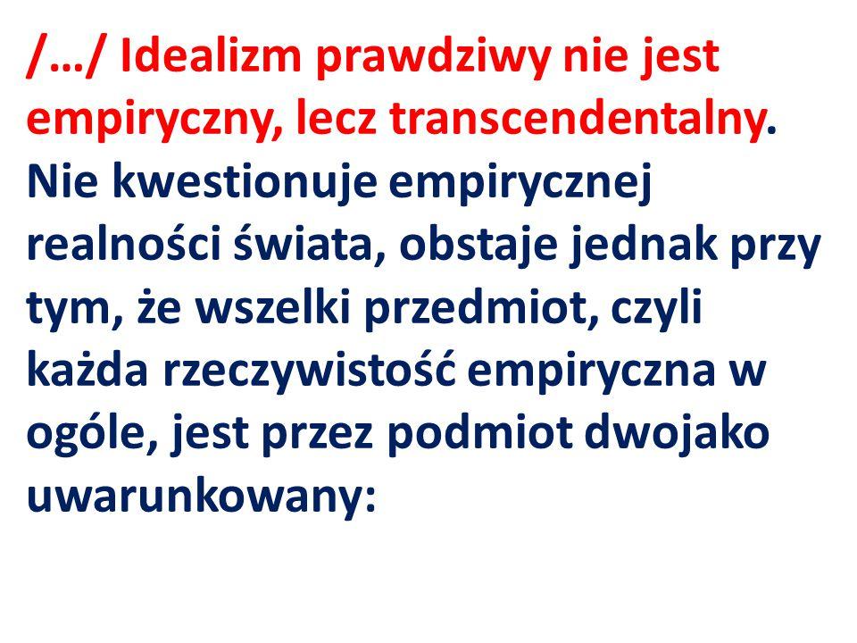 /…/ Idealizm prawdziwy nie jest empiryczny, lecz transcendentalny. Nie kwestionuje empirycznej realności świata, obstaje jednak przy tym, że wszelki p