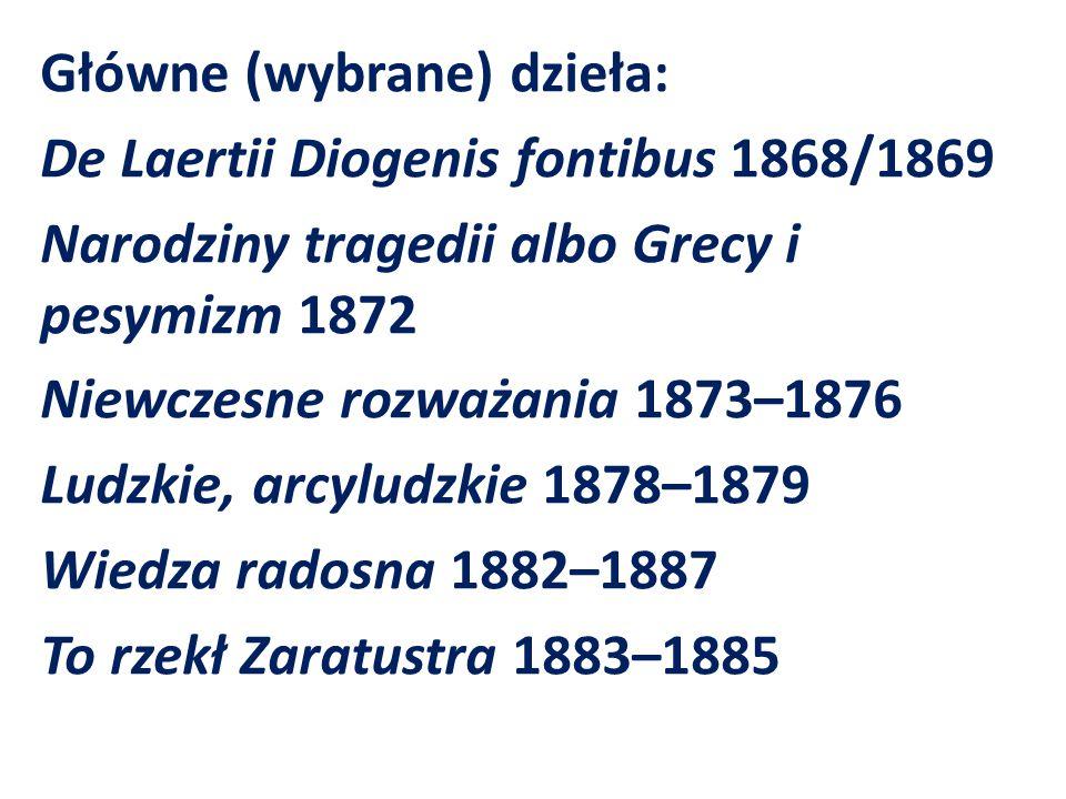 Główne (wybrane) dzieła: De Laertii Diogenis fontibus 1868/1869 Narodziny tragedii albo Grecy i pesymizm 1872 Niewczesne rozważania 1873–1876 Ludzkie,