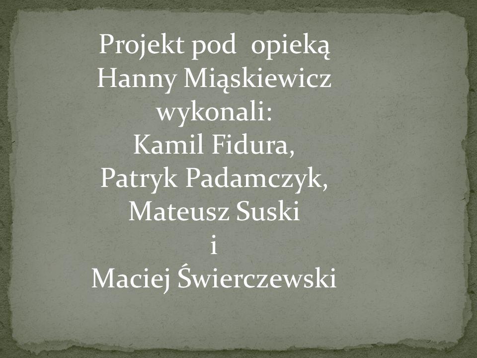 Projekt pod opieką Hanny Miąskiewicz wykonali: Kamil Fidura, Patryk Padamczyk, Mateusz Suski i Maciej Świerczewski