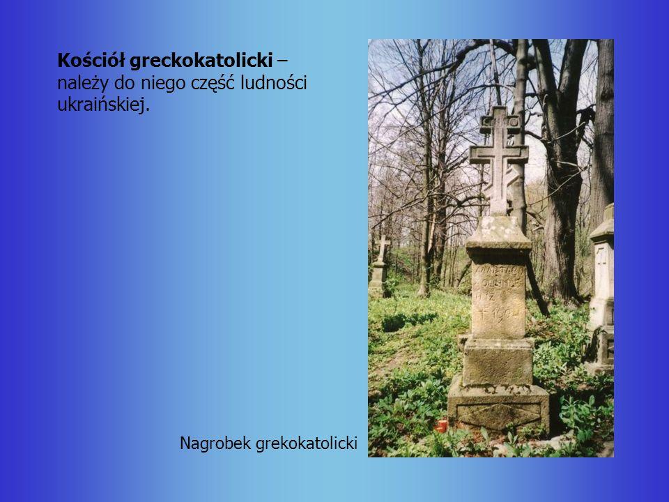 Kościół greckokatolicki – należy do niego część ludności ukraińskiej. Nagrobek grekokatolicki