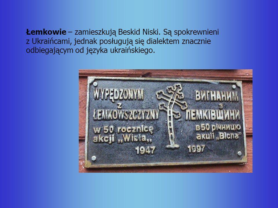Łemkowie – zamieszkują Beskid Niski. Są spokrewnieni z Ukraińcami, jednak posługują się dialektem znacznie odbiegającym od języka ukraińskiego.