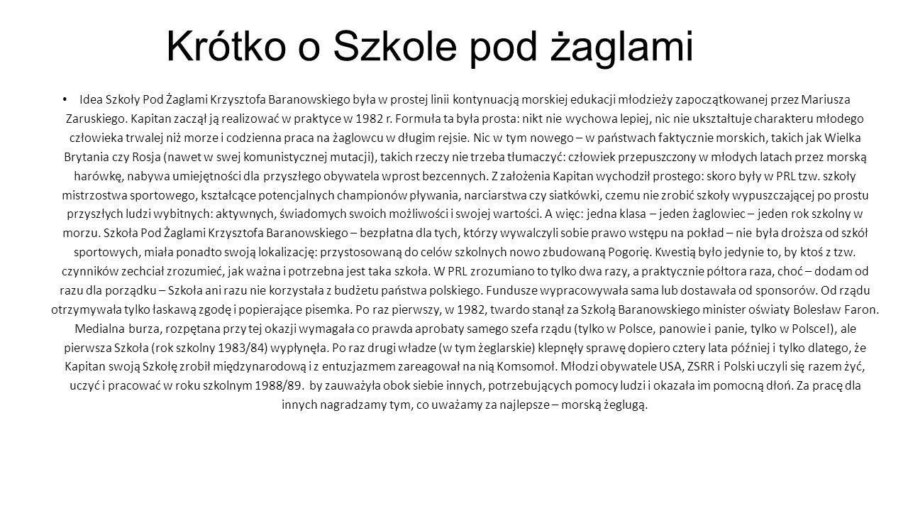 Idea Szkoły Pod Żaglami Krzysztofa Baranowskiego była w prostej linii kontynuacją morskiej edukacji młodzieży zapoczątkowanej przez Mariusza Zaruskieg
