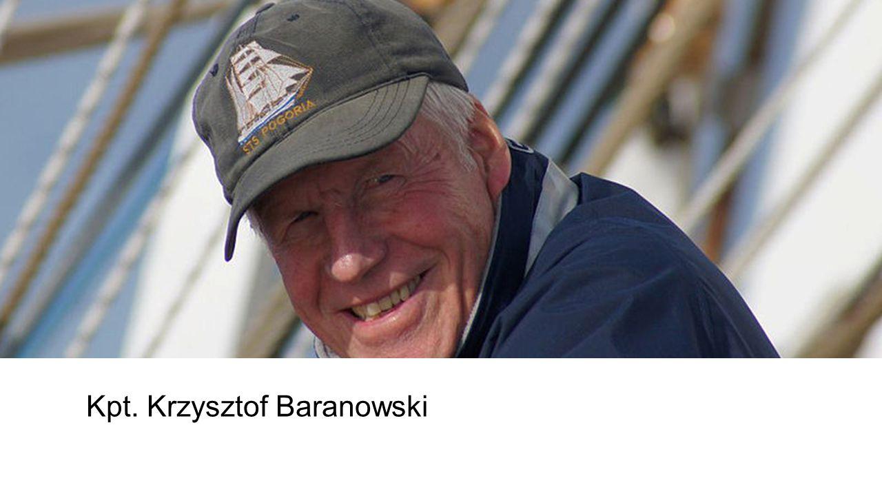 Kpt. Krzysztof Baranowski żeglarz, kapitan jachtowy, dziennikarz, nauczyciel. Jako pierwszy Polak dwukrotnie opłynął samotnie kulę ziemską. Absolwent
