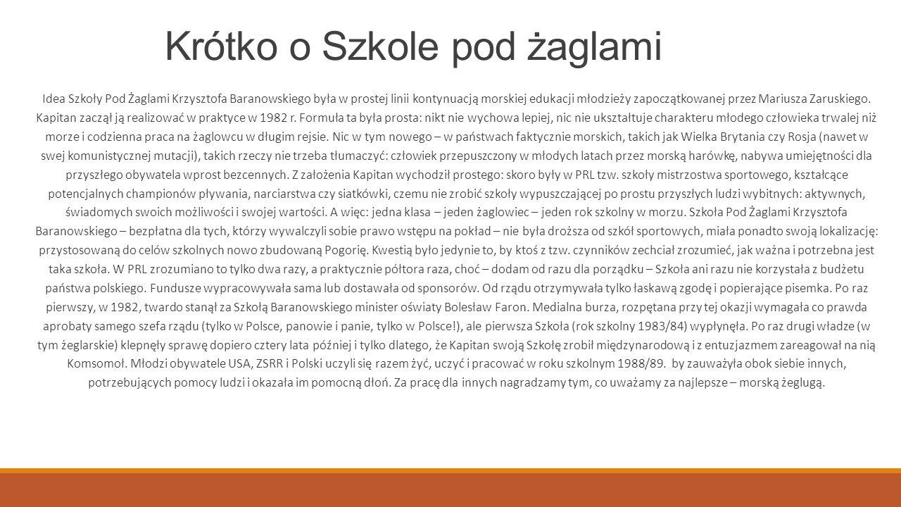 Kpt.Krzysztof Baranowski żeglarz, kapitan jachtowy, dziennikarz, nauczyciel.