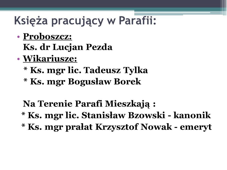 Księża pracujący w Parafii: Proboszcz: Ks. dr Lucjan Pezda Wikariusze: * Ks. mgr lic. Tadeusz Tylka * Ks. mgr Bogusław Borek Na Terenie Parafi Mieszka