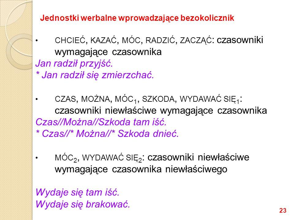 CHCIEĆ, KAZAĆ, MÓC, RADZIĆ, ZACZĄĆ : czasowniki wymagające czasownika Jan radził przyjść.