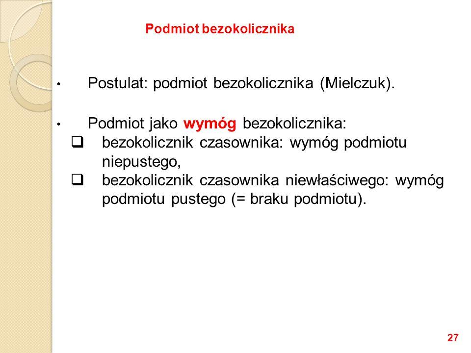 Postulat: podmiot bezokolicznika (Mielczuk).