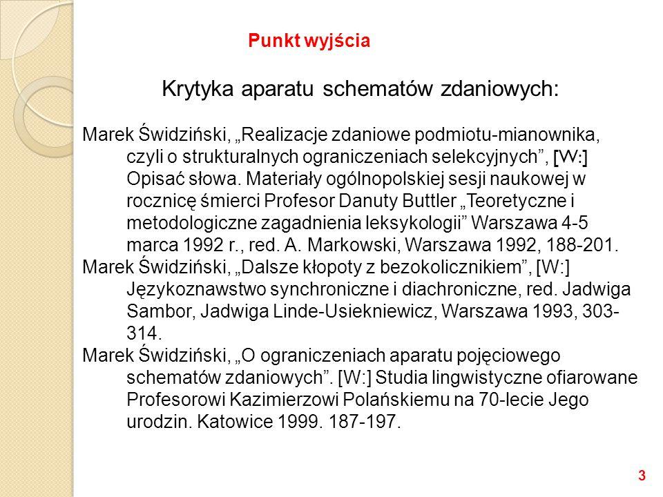 """Krytyka aparatu schematów zdaniowych: Marek Świdziński, """"Realizacje zdaniowe podmiotu-mianownika, czyli o strukturalnych ograniczeniach selekcyjnych , [W:] Opisać słowa."""