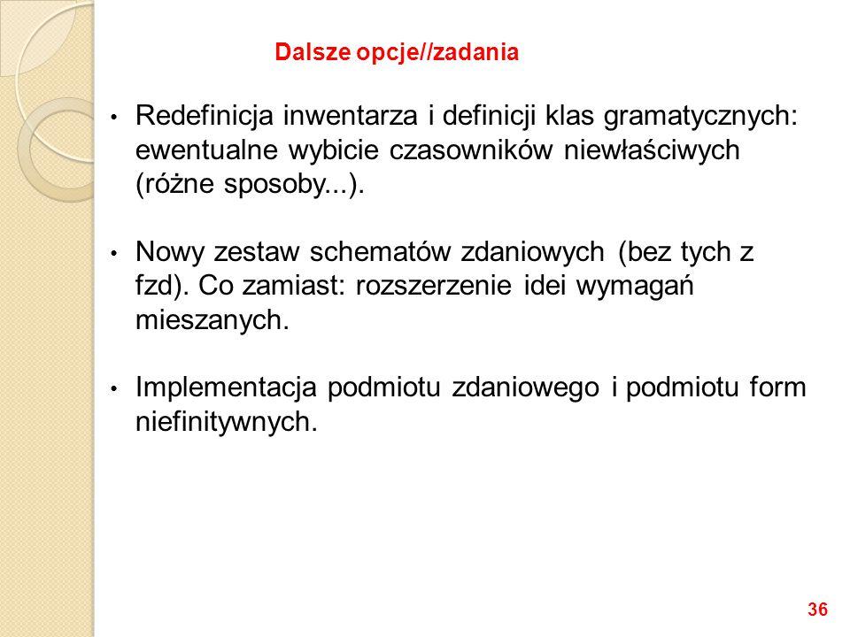 Redefinicja inwentarza i definicji klas gramatycznych: ewentualne wybicie czasowników niewłaściwych (różne sposoby...). Nowy zestaw schematów zdaniowy