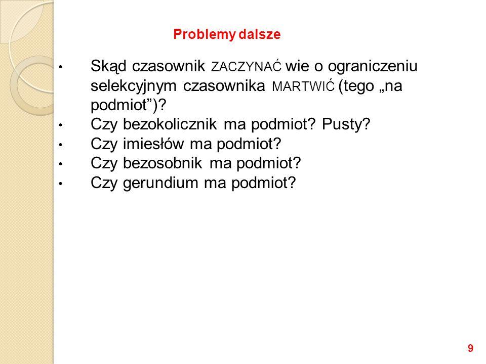 """Skąd czasownik ZACZYNAĆ wie o ograniczeniu selekcyjnym czasownika MARTWIĆ (tego """"na podmiot )."""