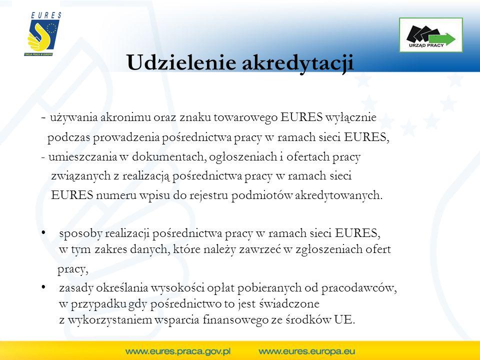 Udzielenie akredytacji - używania akronimu oraz znaku towarowego EURES wyłącznie podczas prowadzenia pośrednictwa pracy w ramach sieci EURES, - umieszczania w dokumentach, ogłoszeniach i ofertach pracy związanych z realizacją pośrednictwa pracy w ramach sieci EURES numeru wpisu do rejestru podmiotów akredytowanych.