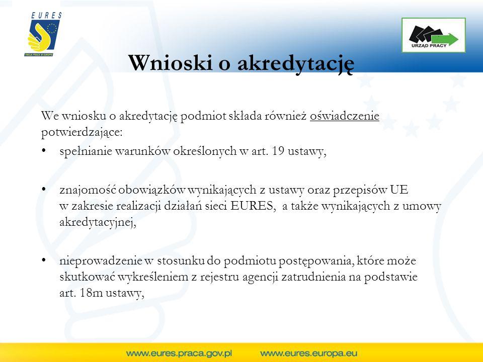Wnioski o akredytację posiadanie zasobów finansowych umożliwiających realizację działań sieci EURES wynikających z ustawy, przepisów UE oraz z umowy akredytacyjnej, kompletność danych zawartych we wniosku o udzielenie akredytacji oraz ich zgodność z prawdą, upływ (do dnia złożenia wniosku) dwóch lat od dnia rozwiązania z podmiotem wnioskującym umowy akredytacyjnej w drodze wypowiedzenia, którego dokonał minister.