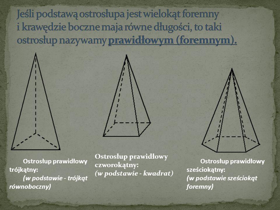 Ostrosłup prawidłowy trójkątny: (w podstawie - trójkąt równoboczny) Ostrosłup prawidłowy czworokątny: (w podstawie - kwadrat) Ostrosłup prawidłowy sze