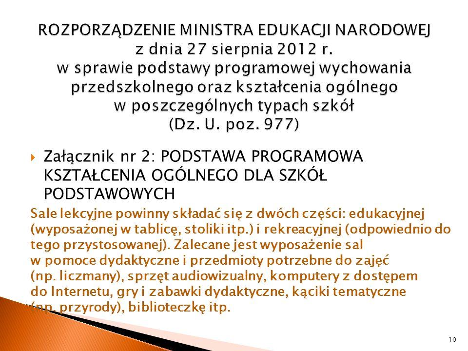  Załącznik nr 2: PODSTAWA PROGRAMOWA KSZTAŁCENIA OGÓLNEGO DLA SZKÓŁ PODSTAWOWYCH Sale lekcyjne powinny składać się z dwóch części: edukacyjnej (wypos