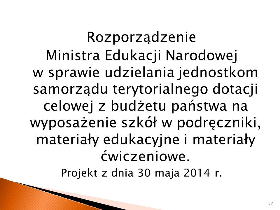 Rozporządzenie Ministra Edukacji Narodowej w sprawie udzielania jednostkom samorządu terytorialnego dotacji celowej z budżetu państwa na wyposażenie s