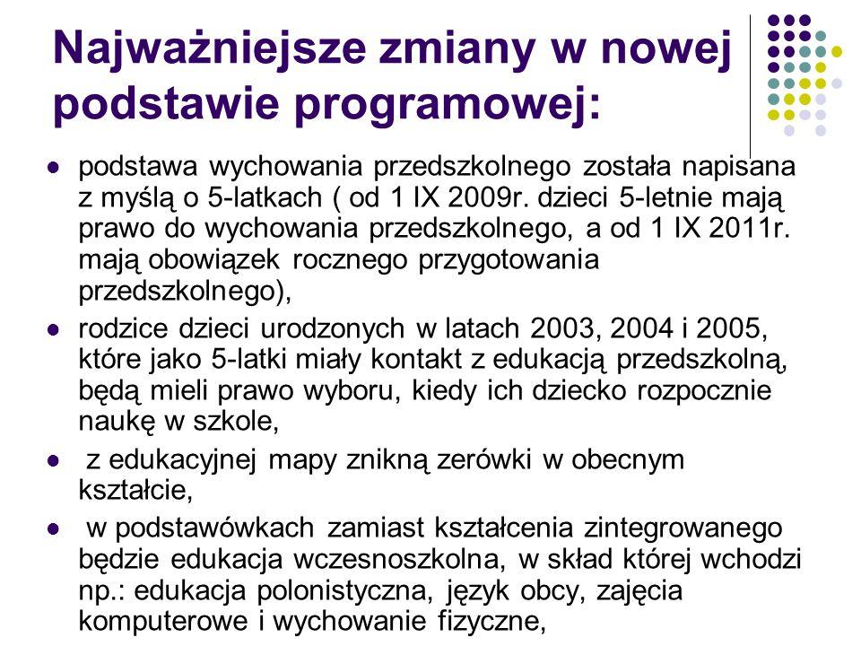 Najważniejsze zmiany w nowej podstawie programowej: podstawa wychowania przedszkolnego została napisana z myślą o 5-latkach ( od 1 IX 2009r. dzieci 5-