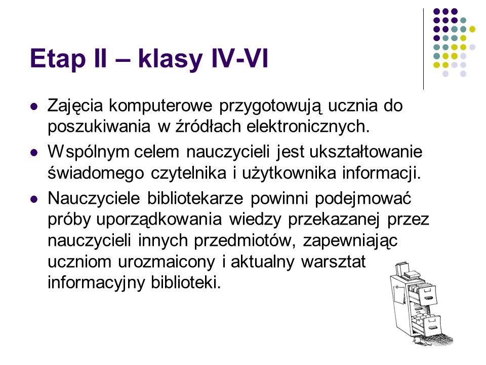 Etap II – klasy IV-VI Zajęcia komputerowe przygotowują ucznia do poszukiwania w źródłach elektronicznych.
