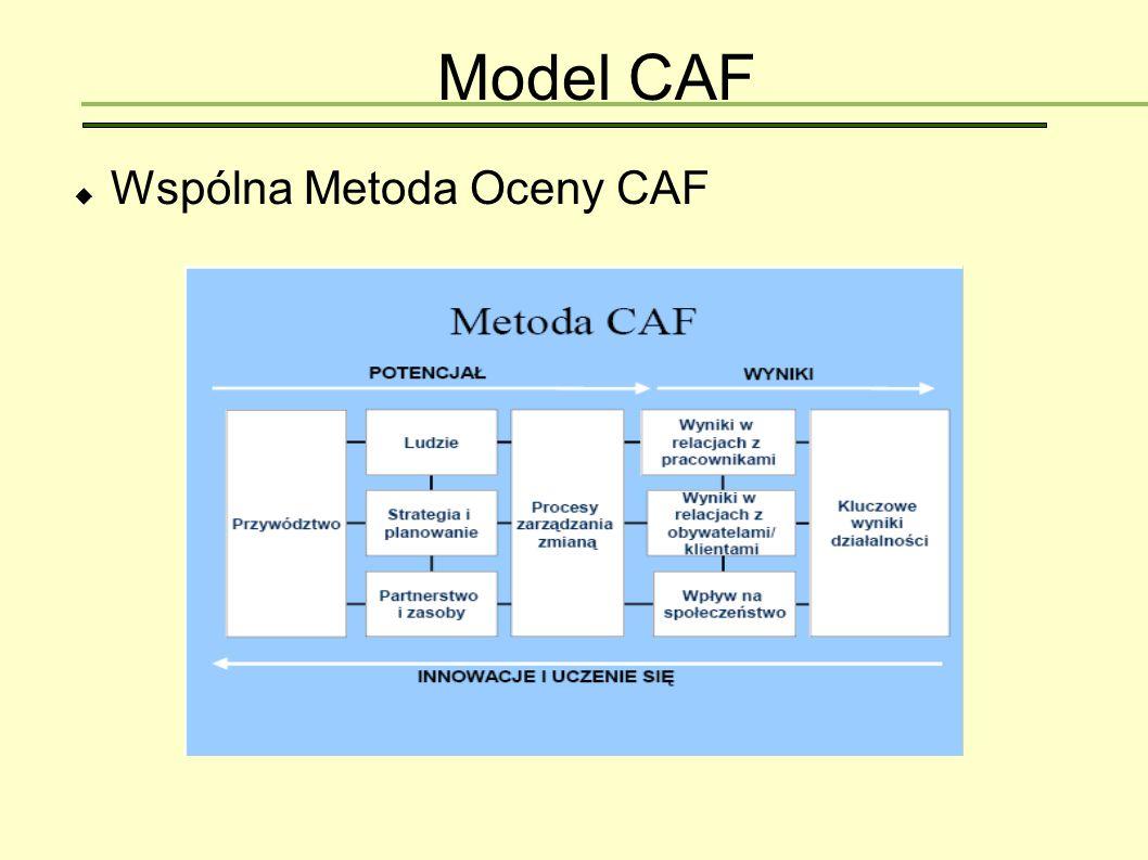 CAF w praktyce  Pilotażowa wersja CAF została wprowadzona w maju 2000 roku  Rok 2002- pierwsza wersja poprawiona  Lata 2000-2005 – około 900 organów administracji publicznej w krajach członkowskich UE stosuje CAF