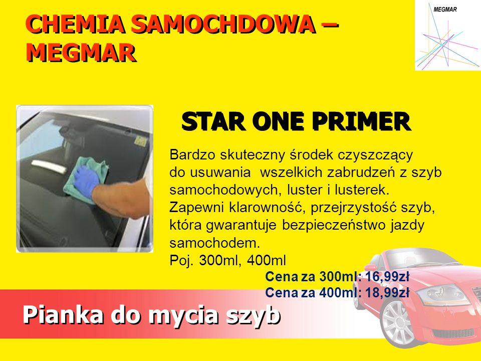 CHEMIA SAMOCHDOWA – MEGMAR Pianka do mycia szyb Bardzo skuteczny środek czyszczący do usuwania wszelkich zabrudzeń z szyb samochodowych, luster i lust