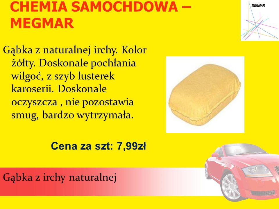 CHEMIA SAMOCHDOWA – MEGMAR Gąbka z naturalnej irchy. Kolor żółty. Doskonale pochłania wilgoć, z szyb lusterek karoserii. Doskonale oczyszcza, nie pozo
