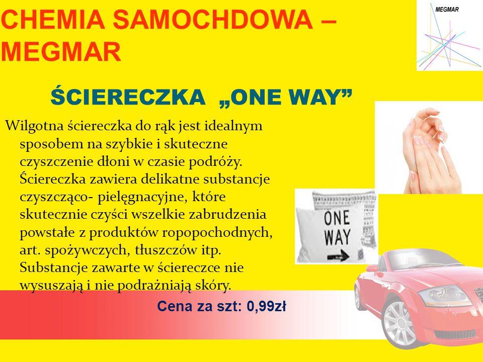 """CHEMIA SAMOCHDOWA – MEGMAR ŚCIERECZKA """"ONE WAY Wilgotna ściereczka do rąk jest idealnym sposobem na szybkie i skuteczne czyszczenie dłoni w czasie podróży."""