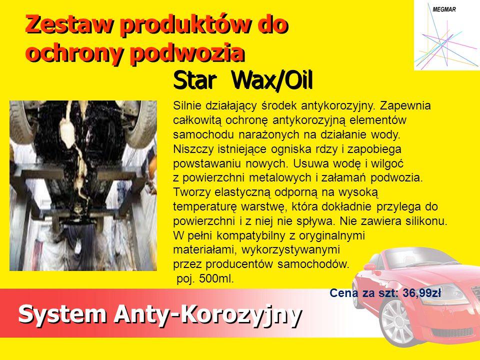 Zestaw produktów do ochrony podwozia System Anty-Korozyjny Silnie działający środek antykorozyjny. Zapewnia całkowitą ochronę antykorozyjną elementów