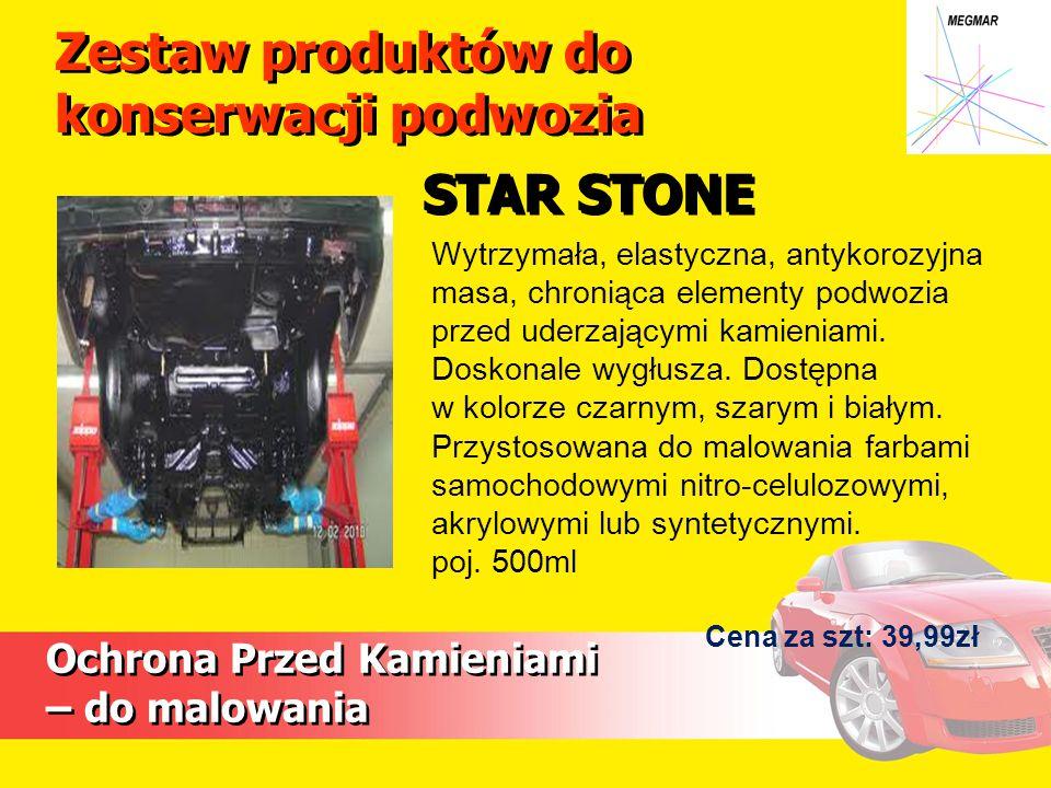 Ochrona Przed Kamieniami – do malowania Wytrzymała, elastyczna, antykorozyjna masa, chroniąca elementy podwozia przed uderzającymi kamieniami.
