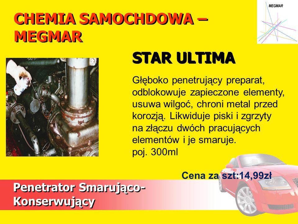 CHEMIA SAMOCHDOWA – MEGMAR Penetrator Smarująco- Konserwujący Głęboko penetrujący preparat, odblokowuje zapieczone elementy, usuwa wilgoć, chroni meta