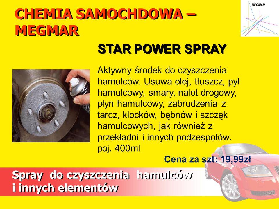 CHEMIA SAMOCHDOWA – MEGMAR Spray do czyszczenia hamulców i innych elementów Spray do czyszczenia hamulców i innych elementów Aktywny środek do czyszczenia hamulców.