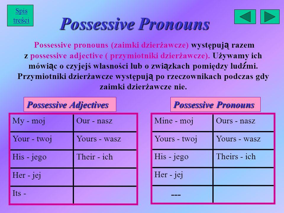 Possessive Pronouns Possessive pronouns (zaimki dzierżawcze) występuj ą razem z possessive adjective ( przymiotniki dzierżawcze). Używamy ich mówi ą c