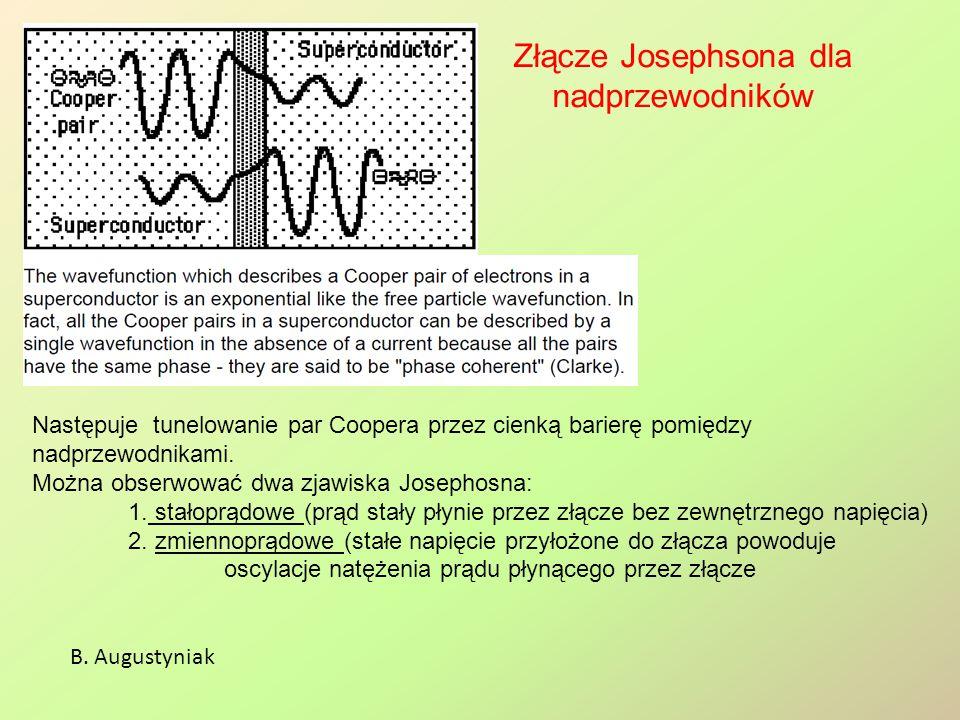Stałoprądowe zjawisko Josephsona B.Augustyniak Wstęp do fizyki ciała stałego; Ch.