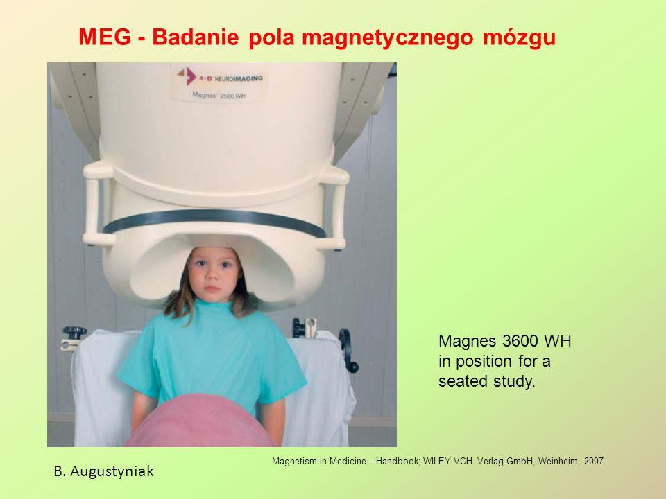 MEG - Badanie pola magnetycznego mózgu B. Augustyniak Magnetism in Medicine – Handbook; WILEY-VCH Verlag GmbH, Weinheim, 2007 Magnes 3600 WH in positi
