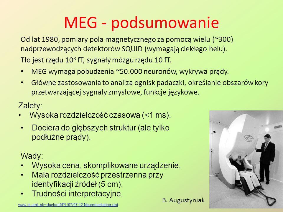 MEG - podsumowanie Od lat 1980, pomiary pola magnetycznego za pomocą wielu (~300) nadprzewodzących detektorów SQUID (wymagają ciekłego helu). Tło jest