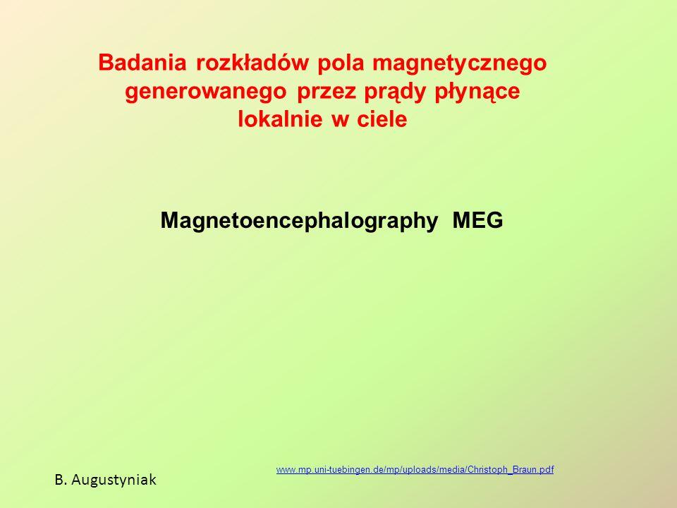 Badania rozkładów pola magnetycznego generowanego przez prądy płynące lokalnie w ciele B. Augustyniak www.mp.uni-tuebingen.de/mp/uploads/media/Christo