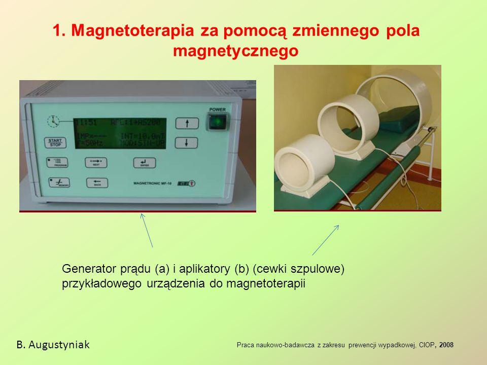 1. Magnetoterapia za pomocą zmiennego pola magnetycznego B. Augustyniak Praca naukowo-badawcza z zakresu prewencji wypadkowej, CIOP, 2008 Generator pr