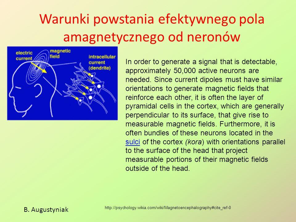 Warunki powstania efektywnego pola amagnetycznego od neronów http://psychology.wikia.com/wiki/Magnetoencephalography#cite_ref-0 In order to generate a