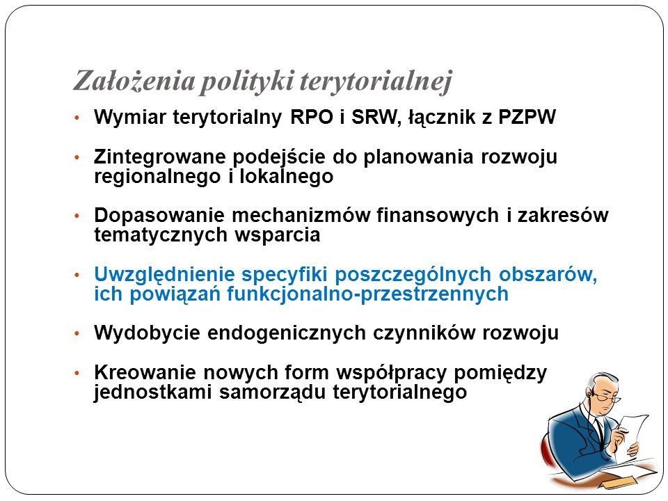 Założenia polityki terytorialnej Wymiar terytorialny RPO i SRW, łącznik z PZPW Zintegrowane podejście do planowania rozwoju regionalnego i lokalnego Dopasowanie mechanizmów finansowych i zakresów tematycznych wsparcia Uwzględnienie specyfiki poszczególnych obszarów, ich powiązań funkcjonalno-przestrzennych Wydobycie endogenicznych czynników rozwoju Kreowanie nowych form współpracy pomiędzy jednostkami samorządu terytorialnego