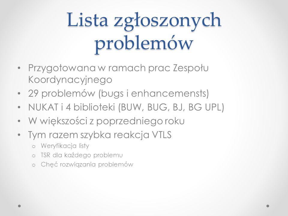 Lista zgłoszonych problemów Przygotowana w ramach prac Zespołu Koordynacyjnego 29 problemów (bugs i enhancemensts) NUKAT i 4 biblioteki (BUW, BUG, BJ, BG UPL) W większości z poprzedniego roku Tym razem szybka reakcja VTLS o Weryfikacja listy o TSR dla każdego problemu o Chęć rozwiązania problemów