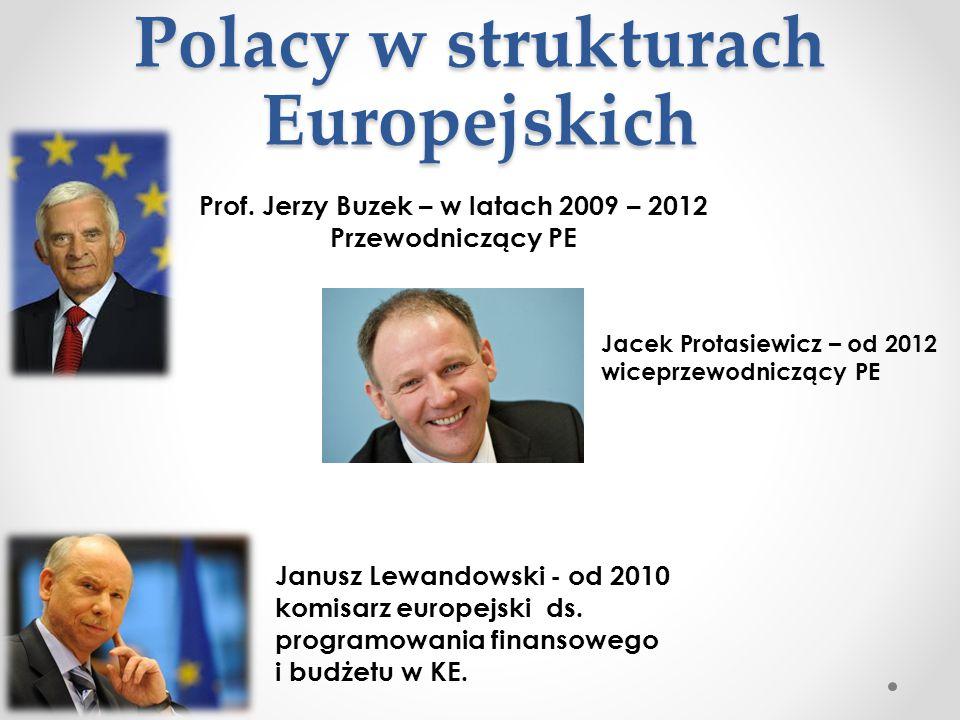Polacy w strukturach Europejskich Polacy w strukturach Europejskich Prof. Jerzy Buzek – w latach 2009 – 2012 Przewodniczący PE Janusz Lewandowski - od