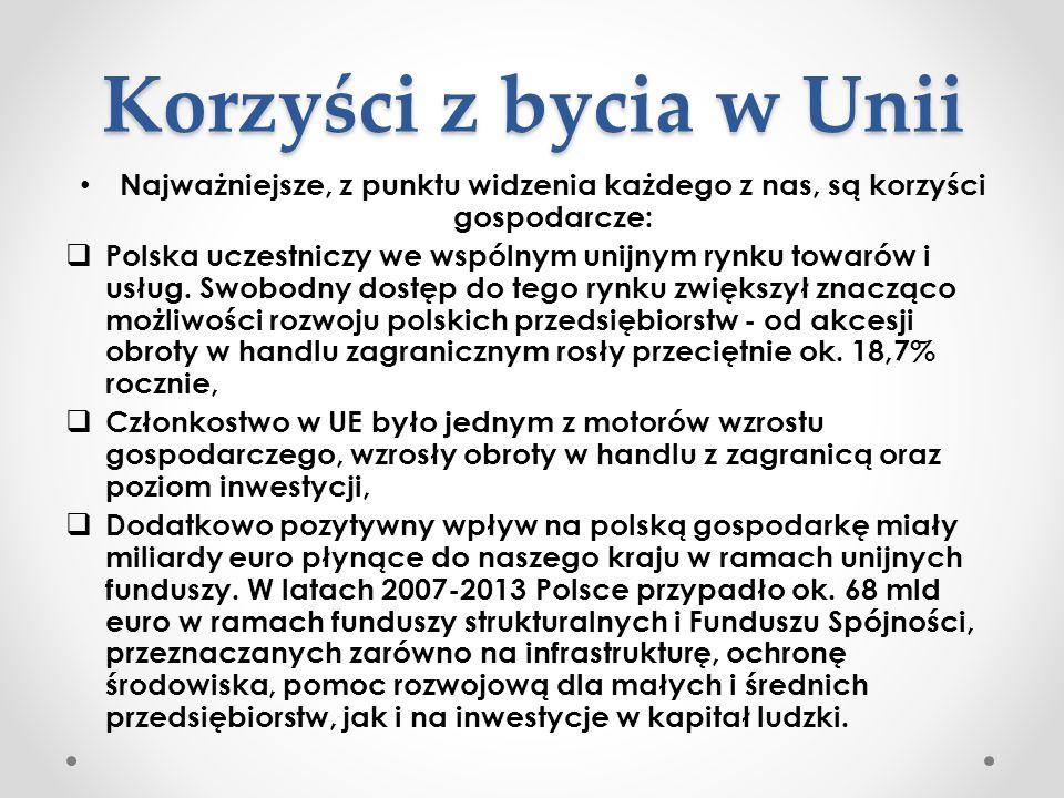 Korzyści z bycia w Unii Najważniejsze, z punktu widzenia każdego z nas, są korzyści gospodarcze:  Polska uczestniczy we wspólnym unijnym rynku towaró