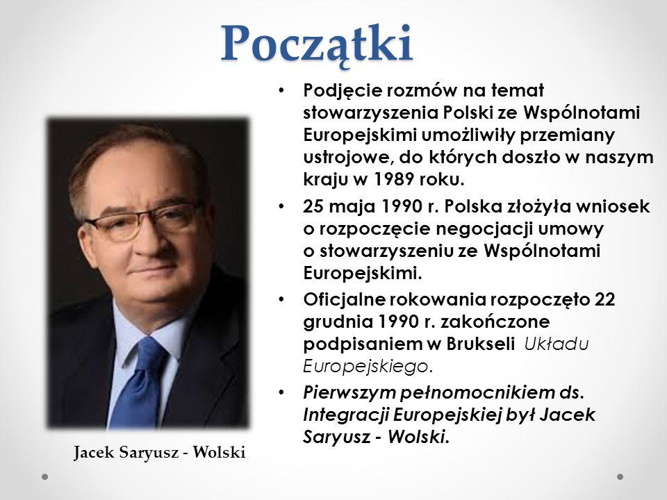 Początki Podjęcie rozmów na temat stowarzyszenia Polski ze Wspólnotami Europejskimi umożliwiły przemiany ustrojowe, do których doszło w naszym kraju w
