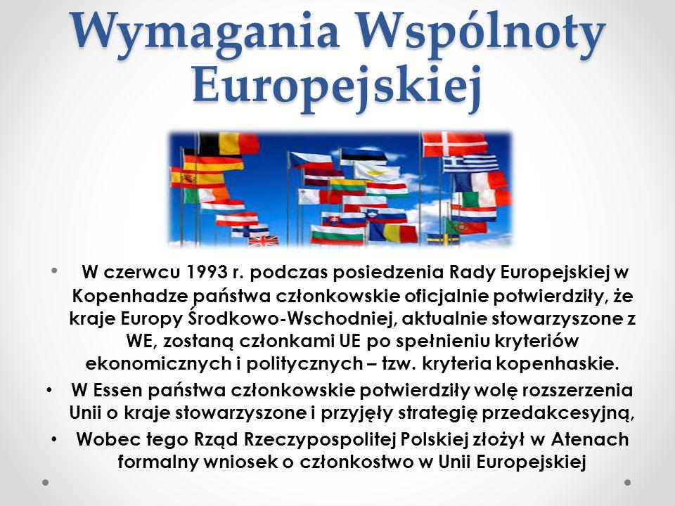 Wymagania Wspólnoty Europejskiej W czerwcu 1993 r. podczas posiedzenia Rady Europejskiej w Kopenhadze państwa członkowskie oficjalnie potwierdziły, że