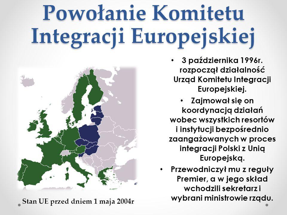 Powołanie Komitetu Integracji Europejskiej 3 października 1996r. rozpoczął działalność Urząd Komitetu Integracji Europejskiej. Zajmował się on koordyn
