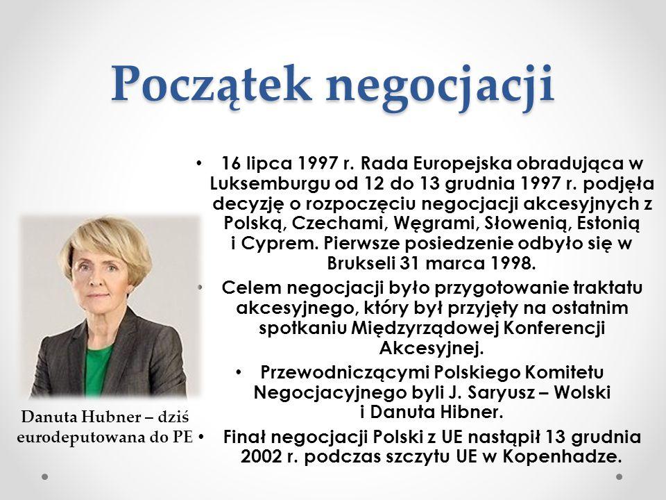 Początek negocjacji 16 lipca 1997 r. Rada Europejska obradująca w Luksemburgu od 12 do 13 grudnia 1997 r. podjęła decyzję o rozpoczęciu negocjacji akc