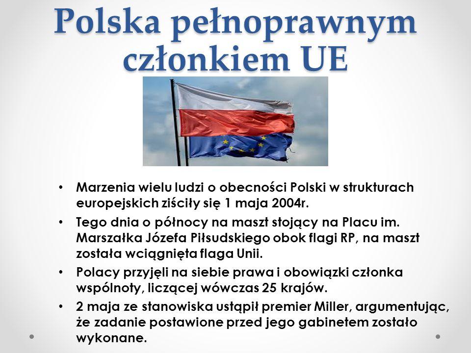 Polska pełnoprawnym członkiem UE Marzenia wielu ludzi o obecności Polski w strukturach europejskich ziściły się 1 maja 2004r. Tego dnia o północy na m