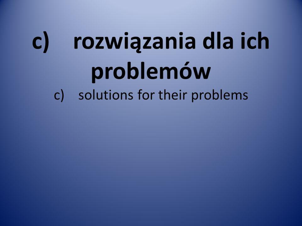 c) rozwiązania dla ich problemów c) solutions for their problems