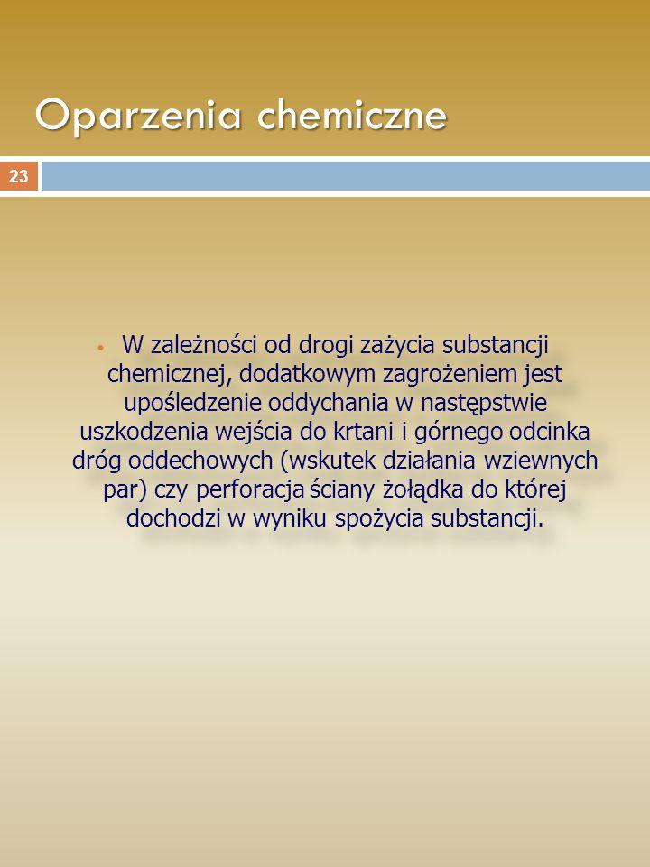 Oparzenia chemiczne W zależności od drogi zażycia substancji chemicznej, dodatkowym zagrożeniem jest upośledzenie oddychania w następstwie uszkodzenia